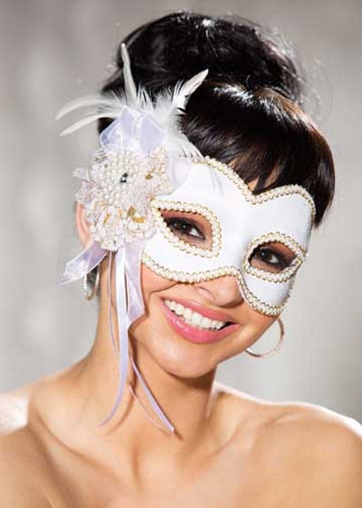 Shirley of Hollywood White Satin Half Mask - 919