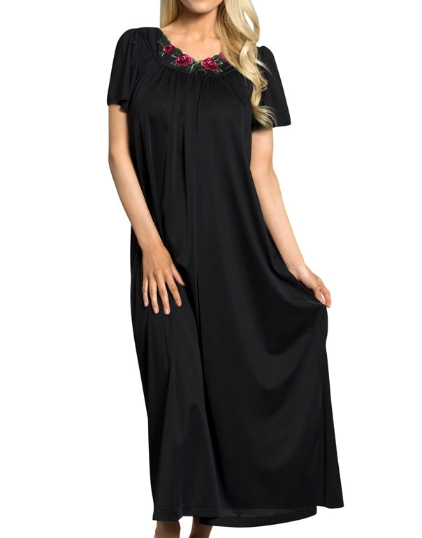 Shadowline Long Gown with Flower Petal Embroidery and Flutter Sleeves - 32280