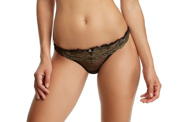 Felina La Dame Gold Ruffled Low Rise Thong Panty - 539986