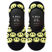 K. Bell Men's Smiley Face All Over Liner Socks Black One Size - KSMS15B088-01