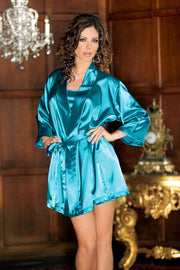 iCollection Satin 3-4 Sleeve Robe with Matching Sash - 7893X