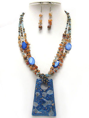 Michelle Ray Jewelry Gold flake deco resin pendant and multi chip stone chain necklace earring set - S11245BL-7866