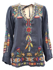 Johnny was Free Spirit Embroidered Georgette Blouse - C14818