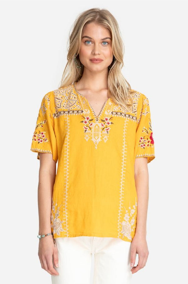 Johnny Was Izora Linen Flutter SLV Blouse - J16820-4