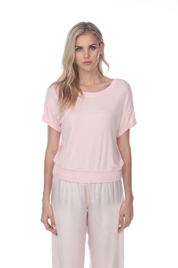 PJ Harlow Mac Rib Knit Short Sleeve Tee With Banded Bottom