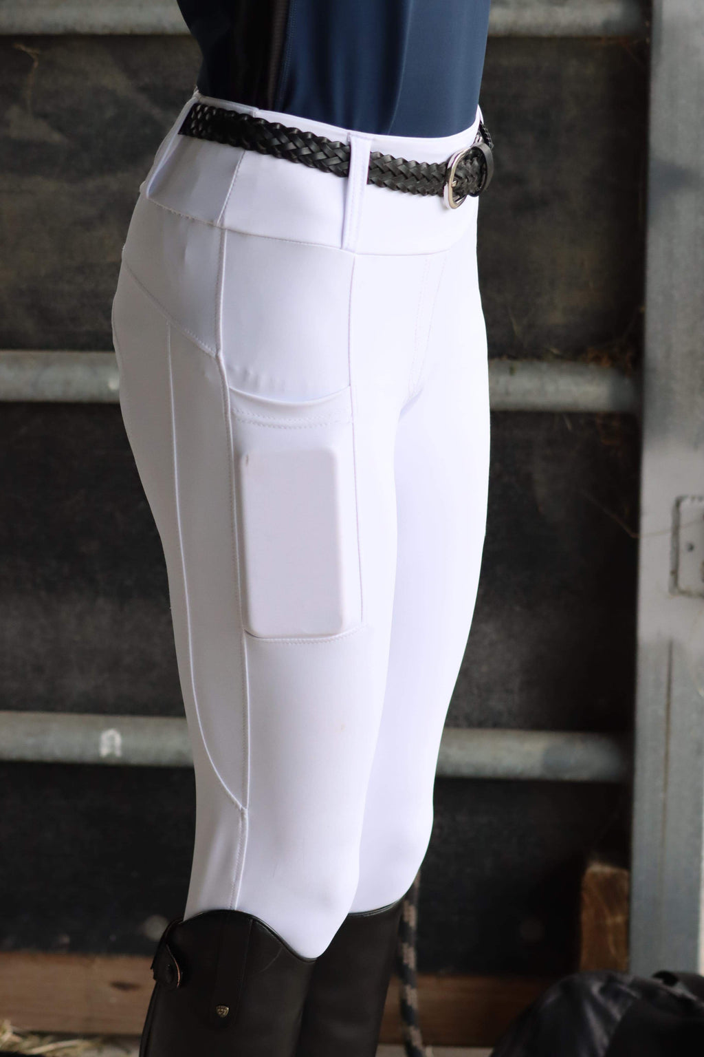 Full Seat White Competition Technical Riding Tights©