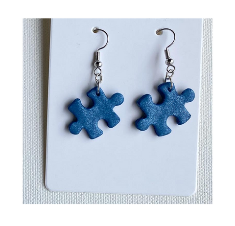 Puzzle piece Autism Awareness earrings