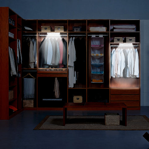 image of battery operated LED lights in closets