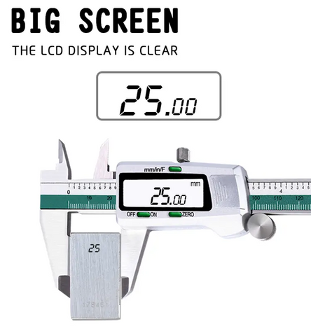 image of 6 inch stainless steel digital caliper large LCD screen
