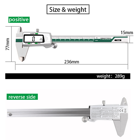 image of 6 inch stainless steel digital calipers size