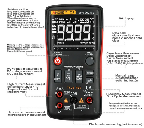 image of ANENG Digital Multimeter features