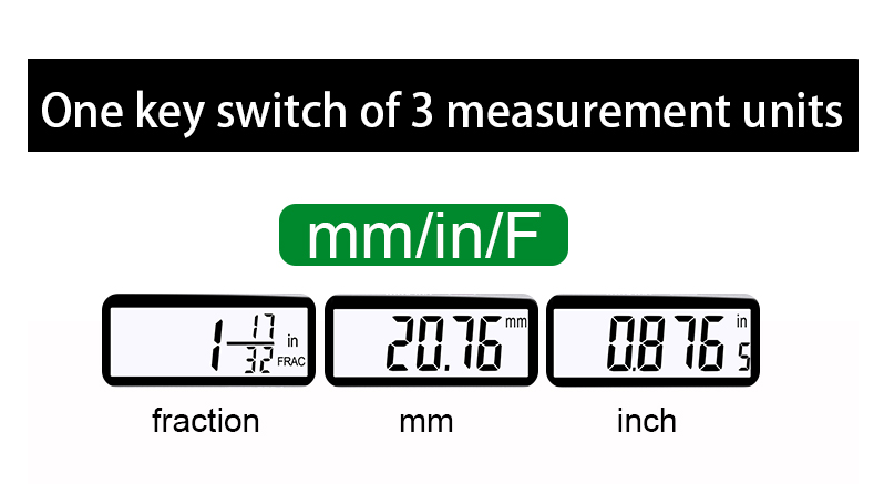 image of 3 measurement units of digital caliper