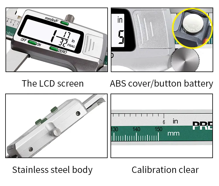 4 images of separate digital caliper features