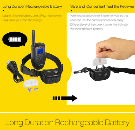 image of Digoo Dog Training Collar rechargeable battery and testing