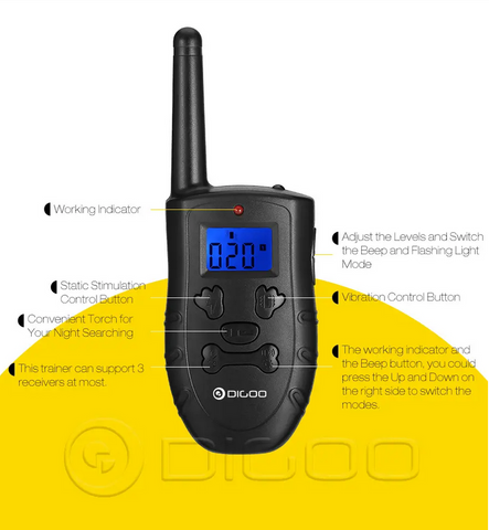 image of Digoo Dog Training Collar remote controller with functions