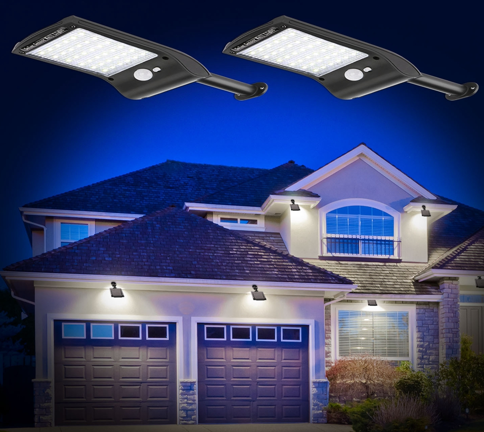 image of SolarStar 36 LED lights close up and in use around home