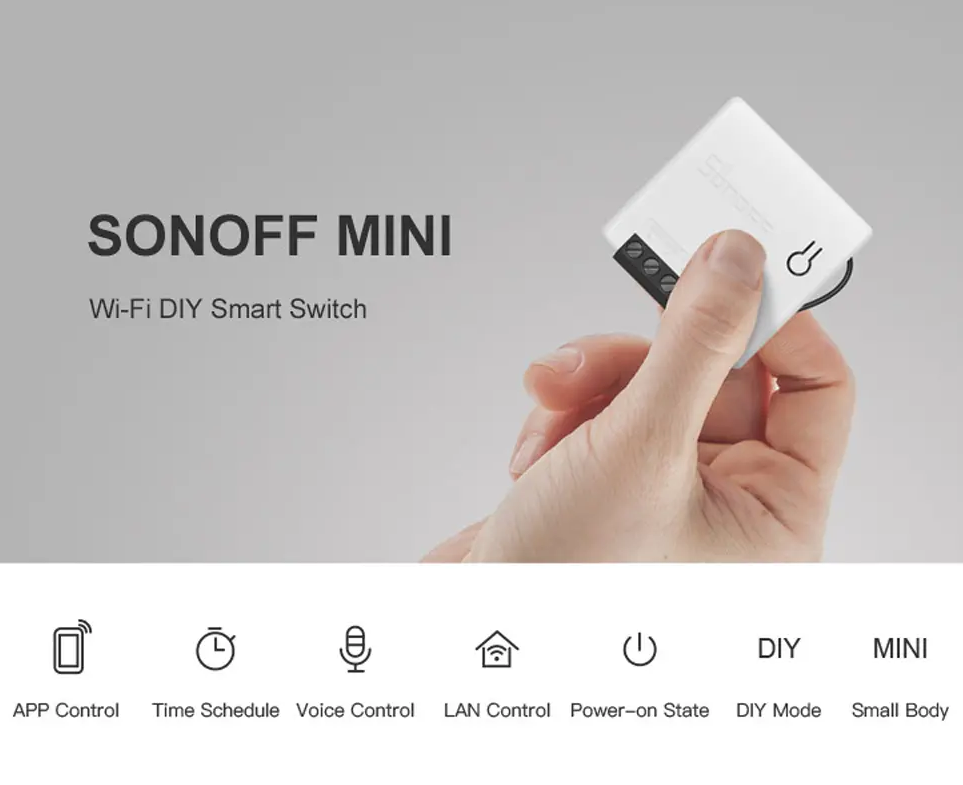 1 Pack - Sonoff Mini Two Way Smart Switch for Home Works With Amazon Alexa and Google Home Assistant Nest -  Supports DIY Mode