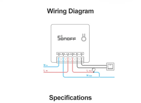 image of Sonoff Mini Smart Switch Wiring Diagram