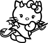 Hello Kitty Devil 25+ colors and multiple sizes, sticker decal .