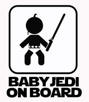 Baby Jedi Baby On Board25+ colors and multiple sizes, sticker decal .