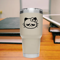 Hello Kitty Grumpy Cat 25+ colors and multiple sizes, sticker decal .