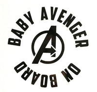 Baby Avenger on board 25+ colors and multiple sizes, sticker decal .