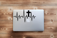 Cross Heartbeat Decal 25+ colors & 6 sizes vinyl sticker for car, laptop, phone, Tumbler