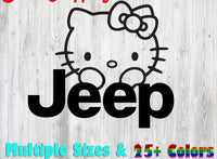 Hello Kitty Jeep 25+ colors and multiple sizes, sticker decal .