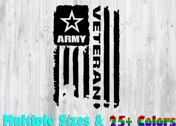 US Army Veteran Distressed Flag ., 25+ colors - multiple sizes, sticker decal .
