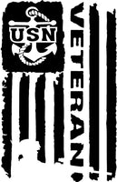 USN Navy Veteran Flag ., 25+ colors - multiple sizes, sticker decal .