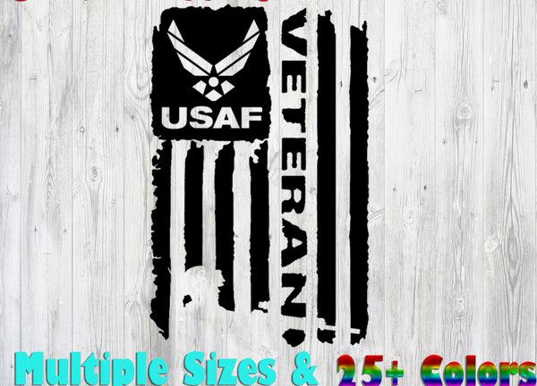 USAF Air Force Veteran Flag ., 25+ colors - multiple sizes, sticker decal .