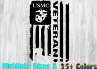 USMC Marine Corps Veteran Flag ., 25+ colors - multiple sizes, sticker decal .