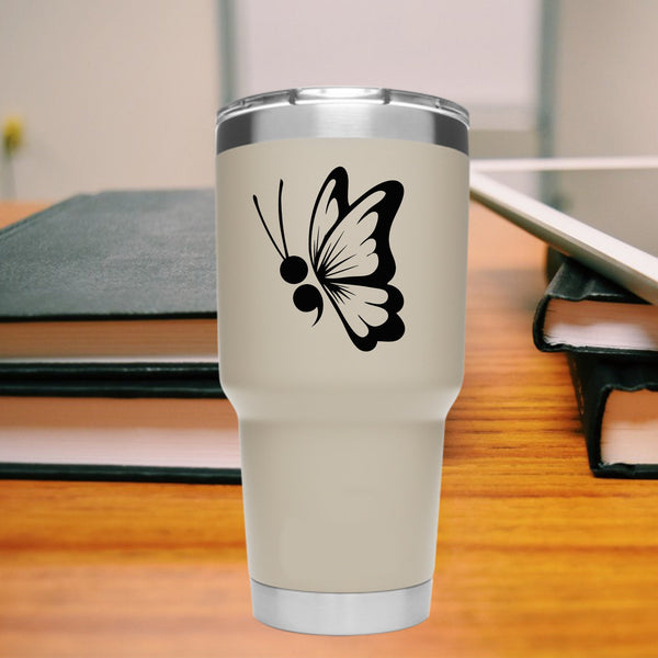 Semi-Colon Butterfly Mental Health Awareness  25+ colors & multiple sizes
