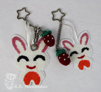 Summer Strawberry Bunny Keyring
