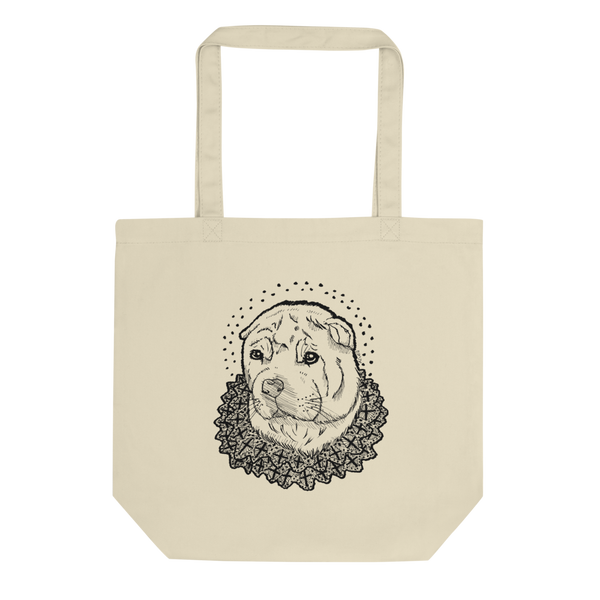 Cross Lace Shar Pei Print Tote