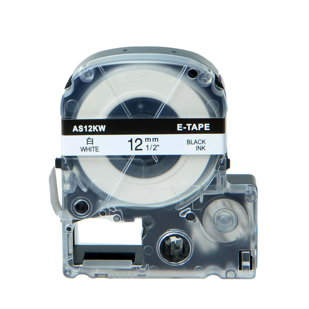 SKY 12 mm x 8 meter Label Tape Cartridge for Epson LabelWorks and KingJim TepraPro Label Printers