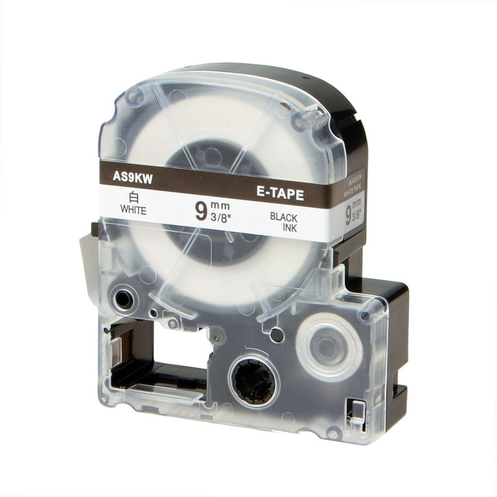 SKY 9mm x 8 meter Label Tape Cartridge for Epson LabelWorks and KingJim TepraPro Label Printers