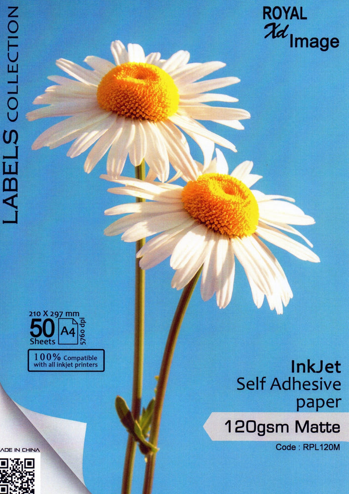 Inkjet Self Adhesive Paper  A4 Size 50 Sheets 120gsm Matte