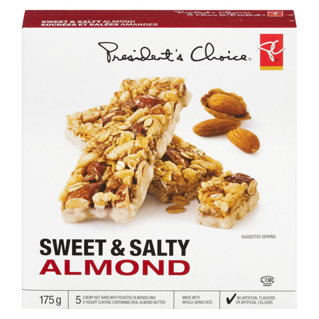 President's Choice Granola Bar, Sweet & Salty Almonds, 175 g