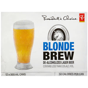President's Choice Non-Alcoholic Blonde Brew Beer (Case), 12x355mL
