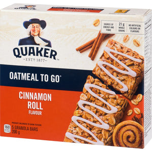Quaker Harvest Granola Bars, Oatmeal To Go - Cinnamon Roll, 200 g