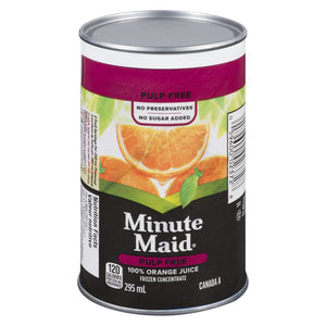 Minute Maid Pulp Free Frozen Concentate Orange Juice, Can, 295 mL