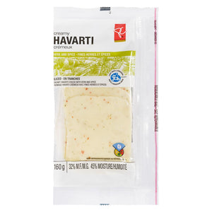 President's Choice Herb & Spice Havarti, Sliced, 160 g
