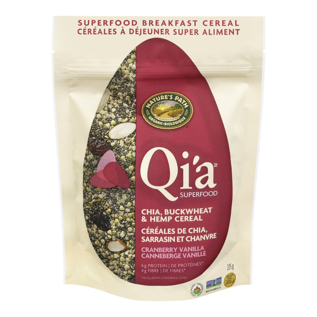 Nature's Path Qi'a Superfood Chia, Buckwheat & Hemp Cereal Cranberry Vanilla, 225 g
