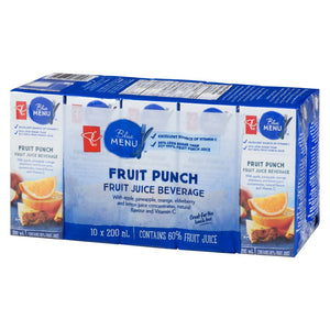 PC Blue Menu Fruit Juice Beverage, Fruit Punch, 10x200mL