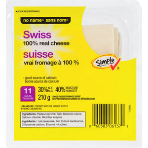 No Name Cheese Slices, Swiss, 210 g