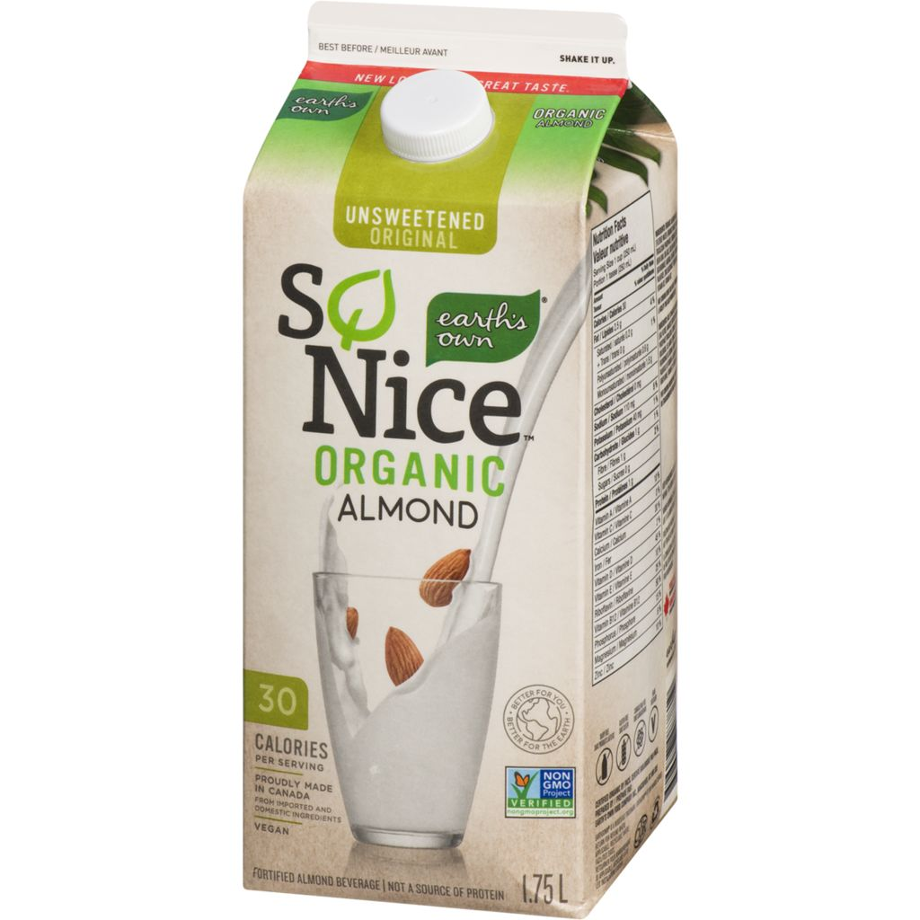 So Nice Organic Almond Milk,Unsweetened, 1.75 L