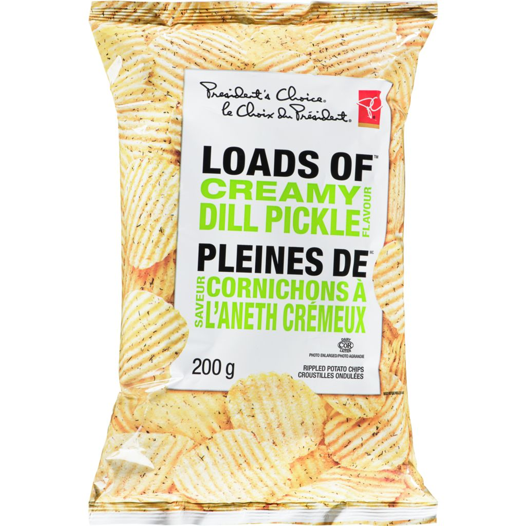 President's Choice Loads Of Creamy Dill Pickle Flavour Rippled Potato Chips, 200 g