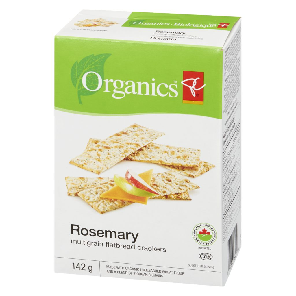 PC Organics Rosemary Multigrain Flatbread Crackers, 142 g