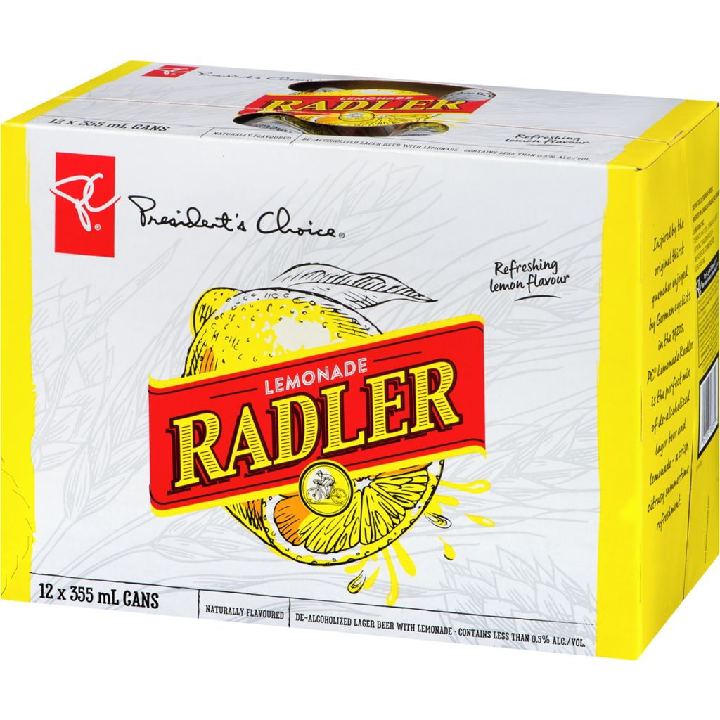 President's Choice Lemonade Radler De-Alcoholized Lager Beer With Lemonade, 12x355mL